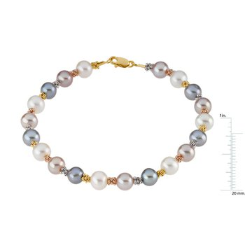 Freshwater White, Pink & Gray Cultured Pearl Bracelet