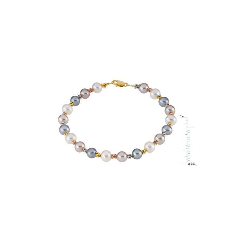 Ladies' Jewelry Freshwater White, Pink & Gray Cultured Pearl Bracelet