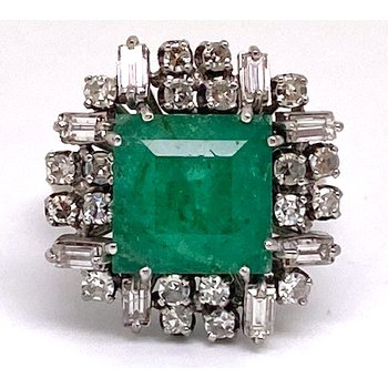 Lady's vintage emerald, diamond and white gold with mixed metal ring