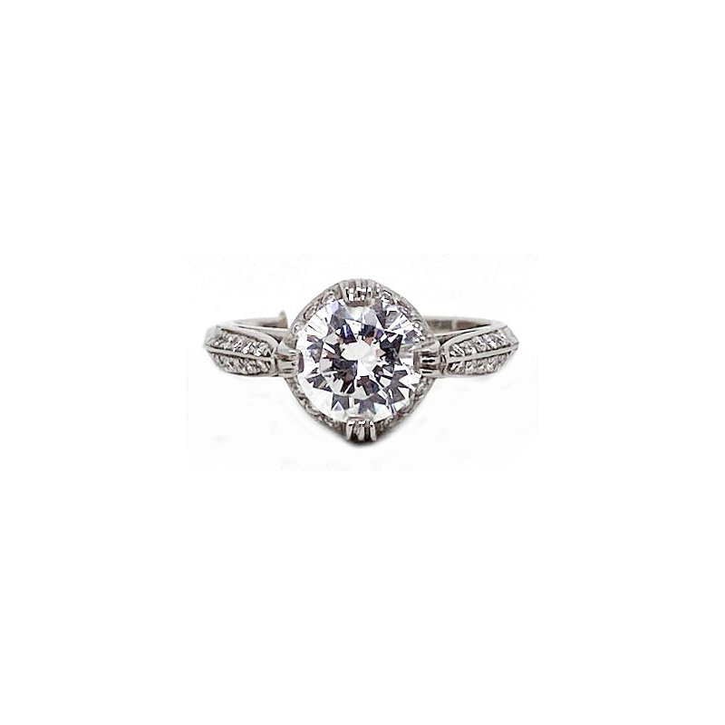 Vintage Bridal Diamond and Platinum, New, Vintage Style, Engagement Ring Mounting
