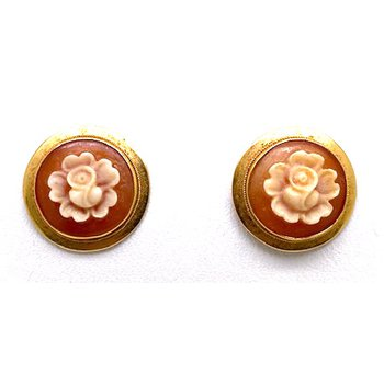 Lady's vintage rose carved cameo stud earrings