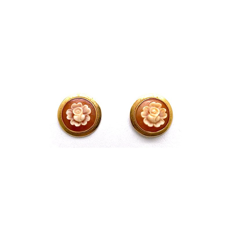 Estate & Vintage Lady's vintage rose carved cameo stud earrings