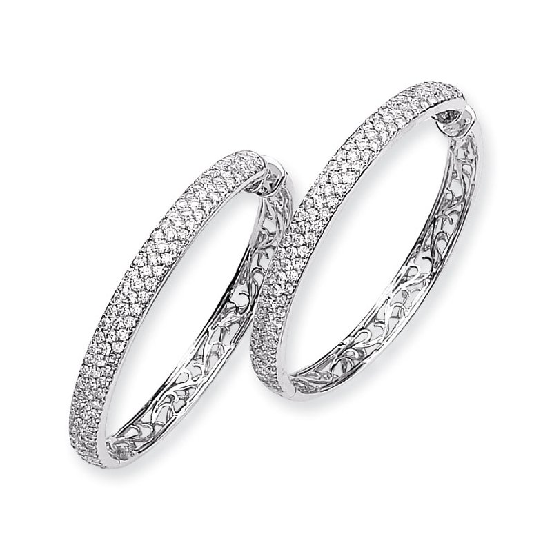 Susan Eisen 14k White Gold Diamond Hinged Hoop Earrings