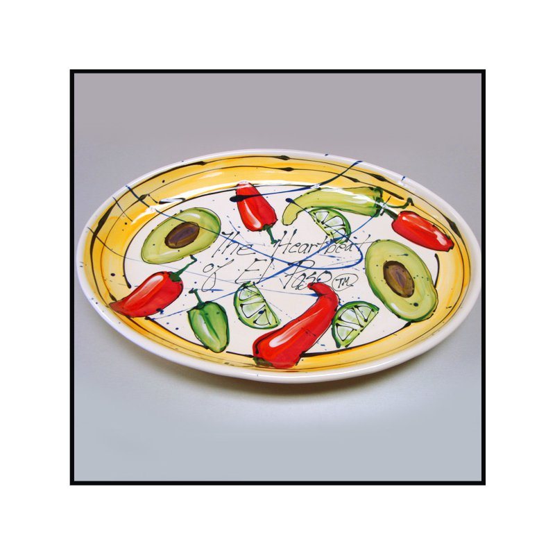 """El Paso Star and Gifts Heart Beat of El Paso """"El Paso is Hot!"""" Large Oval Server"""