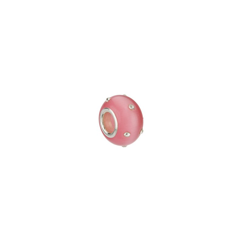 Holiday Ideas Kera Glass Pink Bead with Crystal Accents