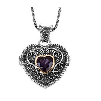 Genuine Amethyst Heart Locket Necklace
