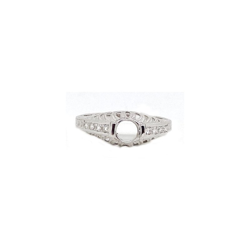 Vintage Bridal Diamond and White Gold, New Vintage Style Mounting