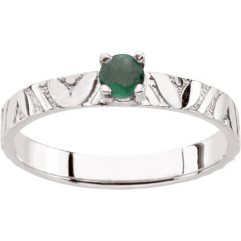 Children's Genuine Emerald May Birthstone Ring