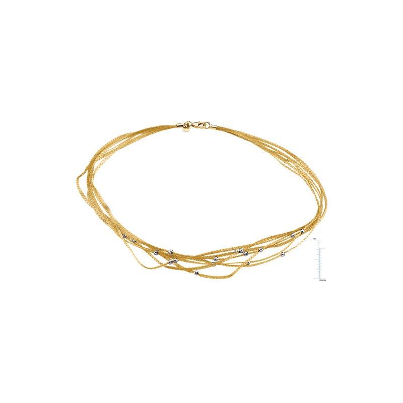 Ladies' Jewelry 7 Strand Mesh Chain with White Gold Diamond-Cut Beads