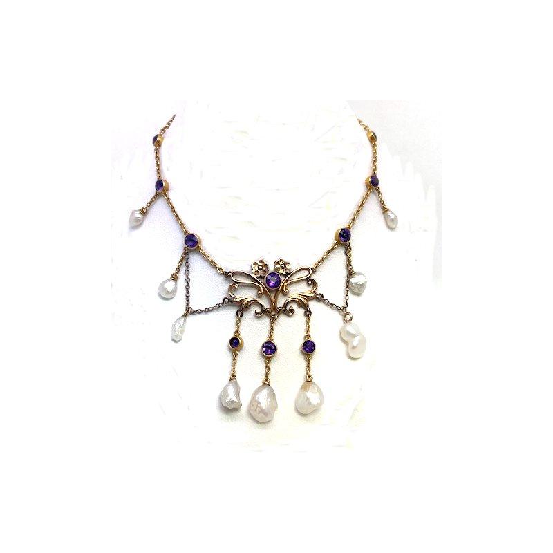 Estate & Vintage Lady's Art Nouveau design pearl and amethyst festoon necklace