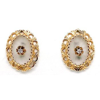 Lady's vintage carved crystal diamond and yellow gold earrings
