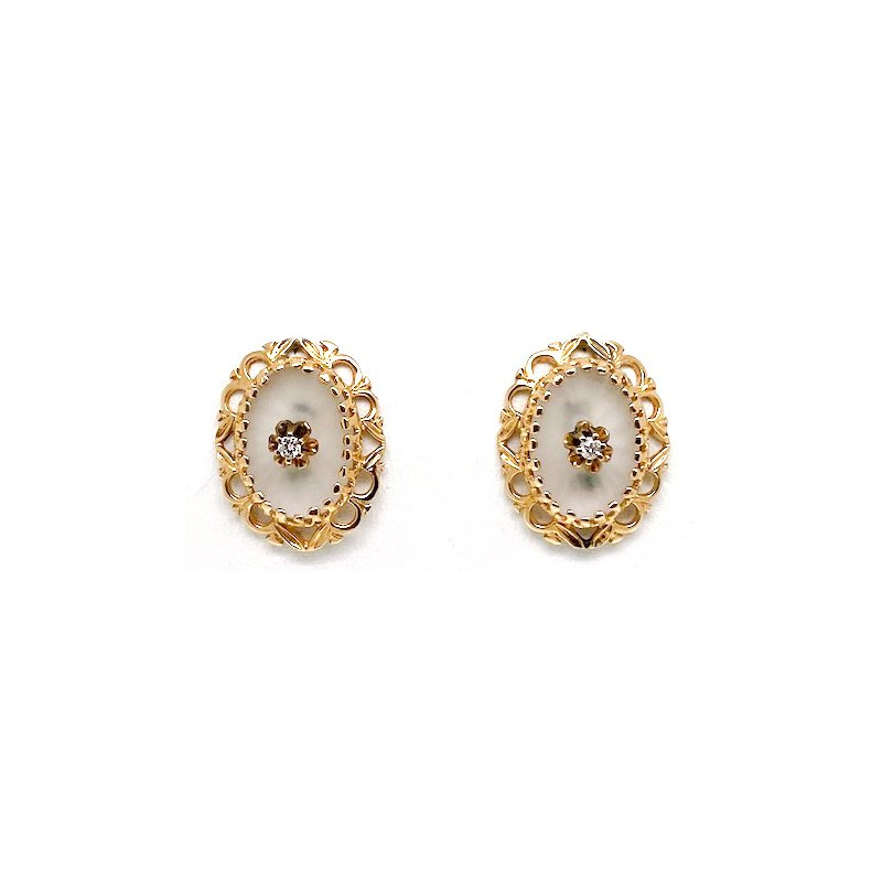 Estate & Vintage Lady's vintage carved crystal diamond and yellow gold earrings