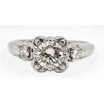 Platinum, gold, and diamond, vintage bridal ring