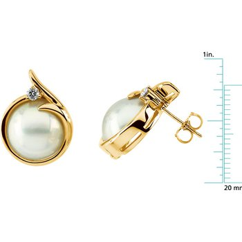 Mabe Cultured Pearl & Diamond Earrings