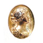 Estate & Vintage Gent's Art Deco design diamond and gold cameo set of cuff links