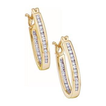 1/3 ct tw Diamond Inside-Outside Hoop Earrings