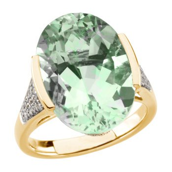 Genuine Green Quartz & Diamond Ring