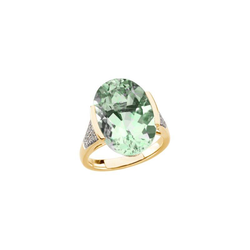 Ladies' Jewelry Genuine Green Quartz & Diamond Ring