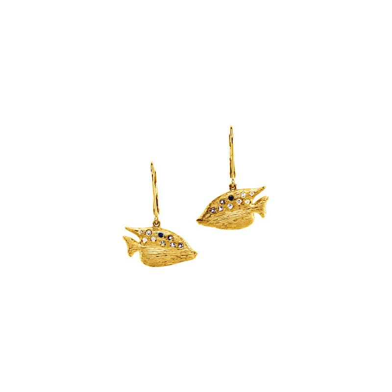 Ladies' Jewelry Genuine Multi Gem-stone & Diamond Sunfish Earrings