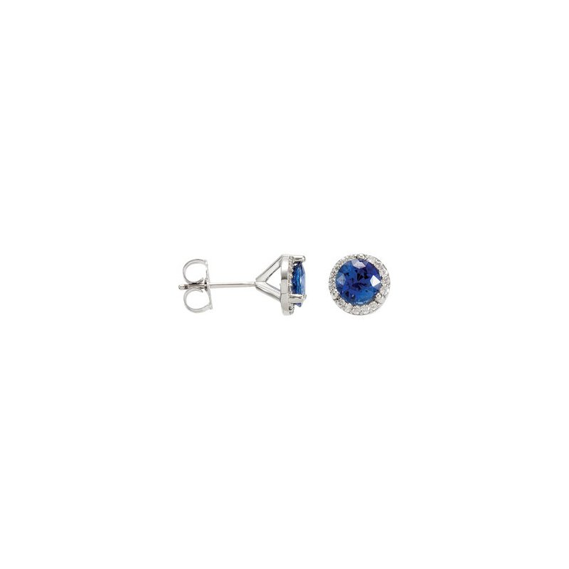 Holiday Ideas Genuine Sapphire & Diamond Earrings