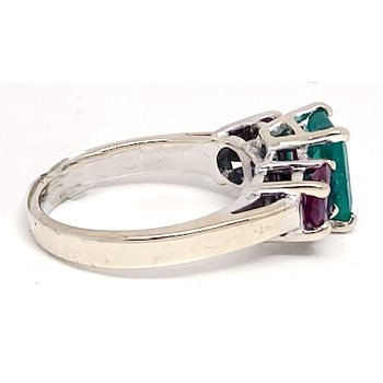 Lady's vintage emerald, ruby and white gold ring