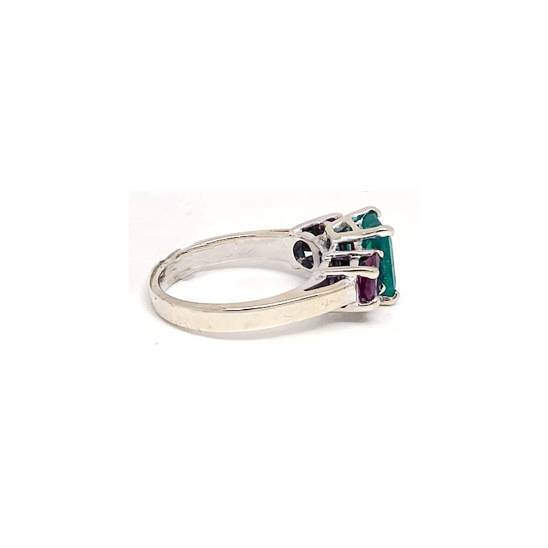 Estate & Vintage Lady's vintage emerald, ruby and white gold ring