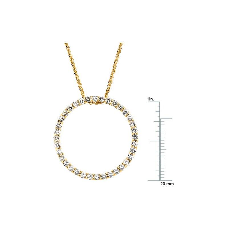 Ladies' Jewelry Moissanite Circle Pendant On Singapore Chain