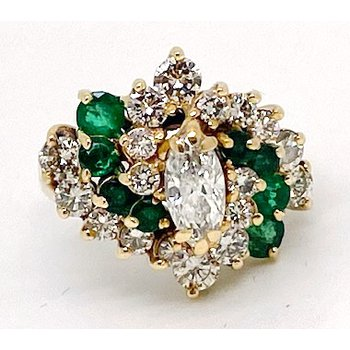 Lady's vintage diamond, emerald, and yellow gold cluster ring