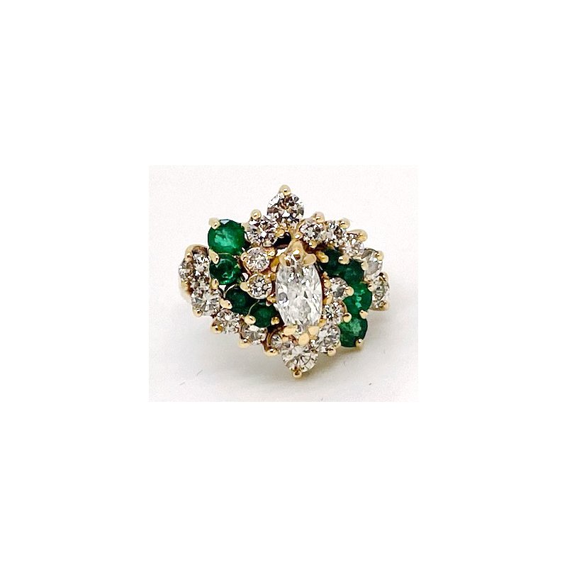 Estate & Vintage Lady's vintage diamond, emerald, and yellow gold cluster ring