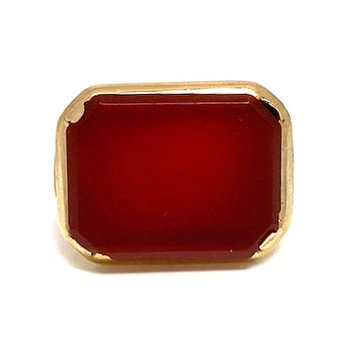 Lady's Art Deco design carnelian and yellow gold ring