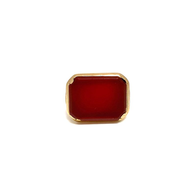 Estate & Vintage Lady's Art Deco design carnelian and yellow gold ring