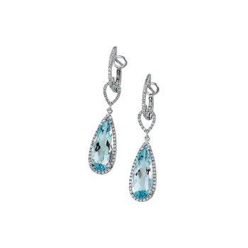 Genuine Sky Blue Topaz & Diamond Earrings