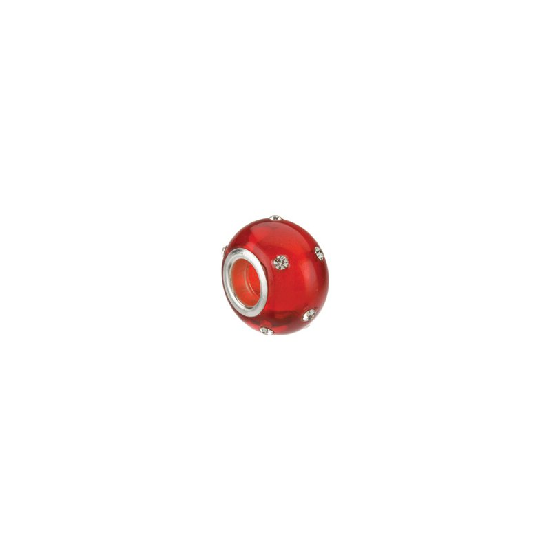 Holiday Ideas Kera Glass Red Bead with Crystal Accents