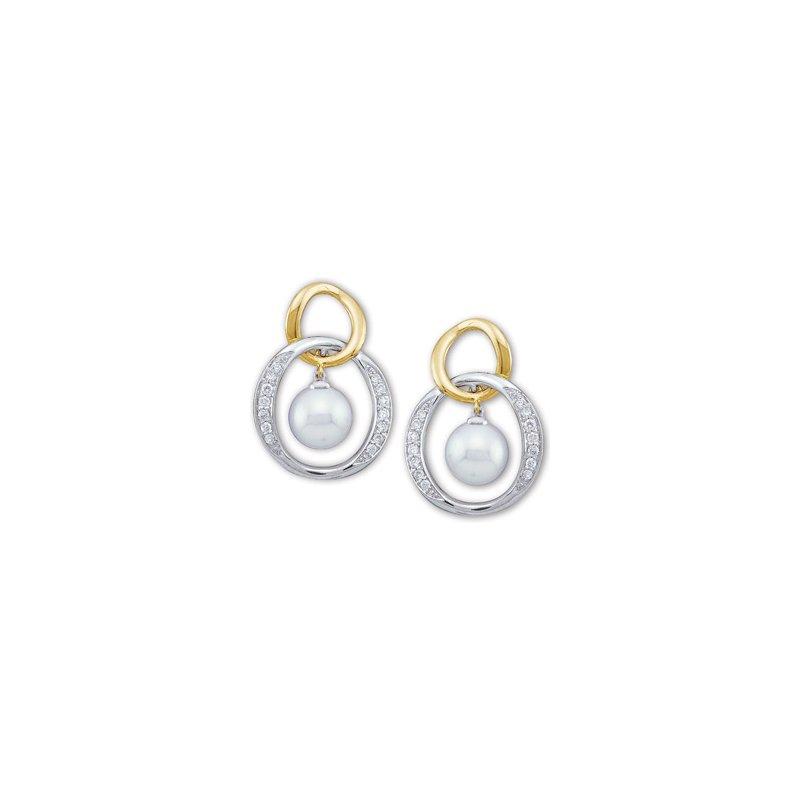 Ladies' Jewelry Akoya Cultured Pearl & Diamond Earrings