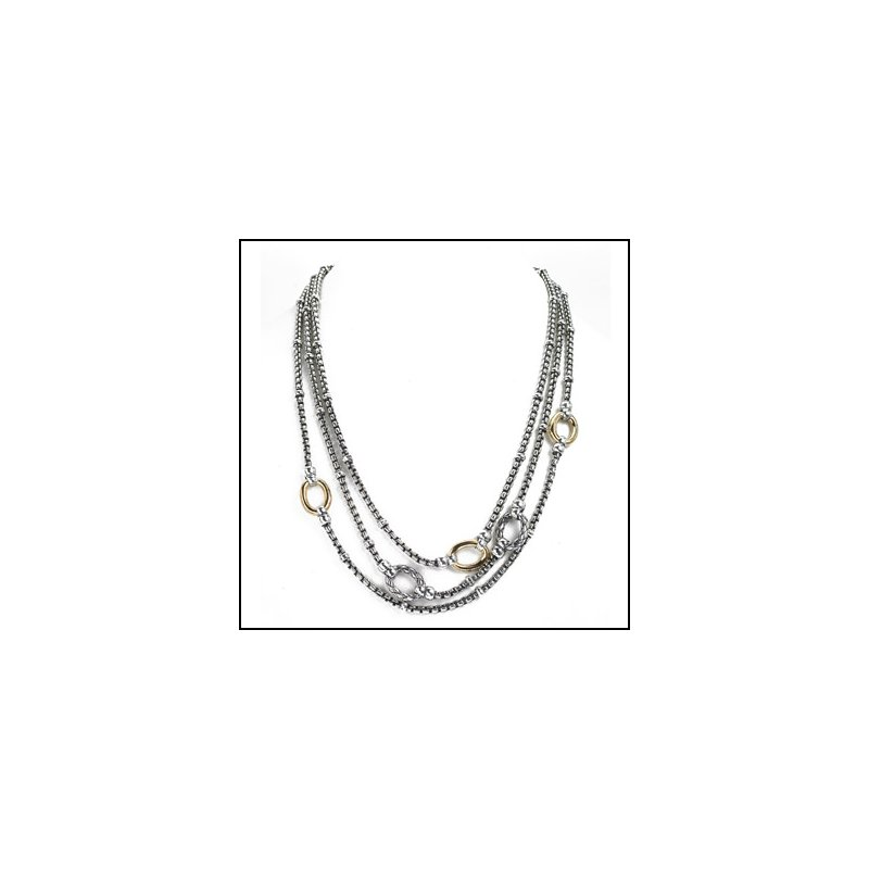 Designer Jewelry Layered Two Tone Necklace