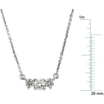 Moissanite 3-Stone Necklace on Diamond Cut Cable Chain