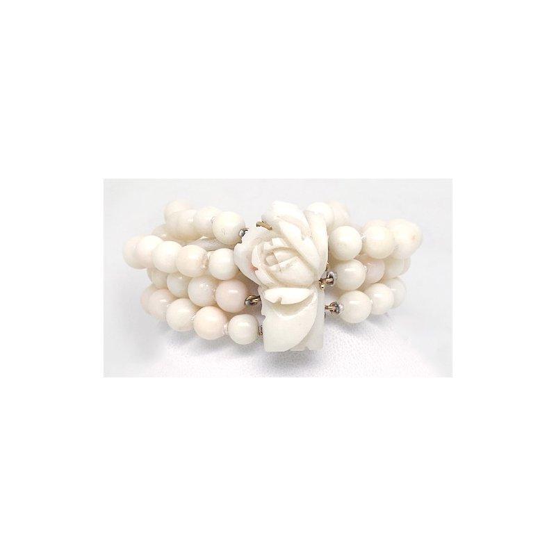 Estate & Vintage Lady's vintage multi strand coral and yellow gold bracelet