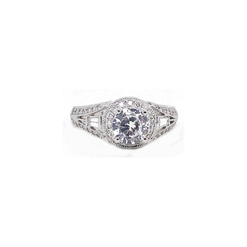 Vintage Bridal Diamond and White Gold, New, Vintage Style Engagement Ring Mounting