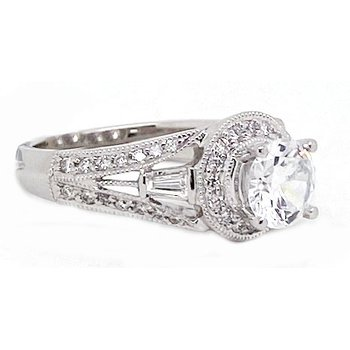 Diamond and White Gold, New, Vintage Style Engagement Ring Mounting