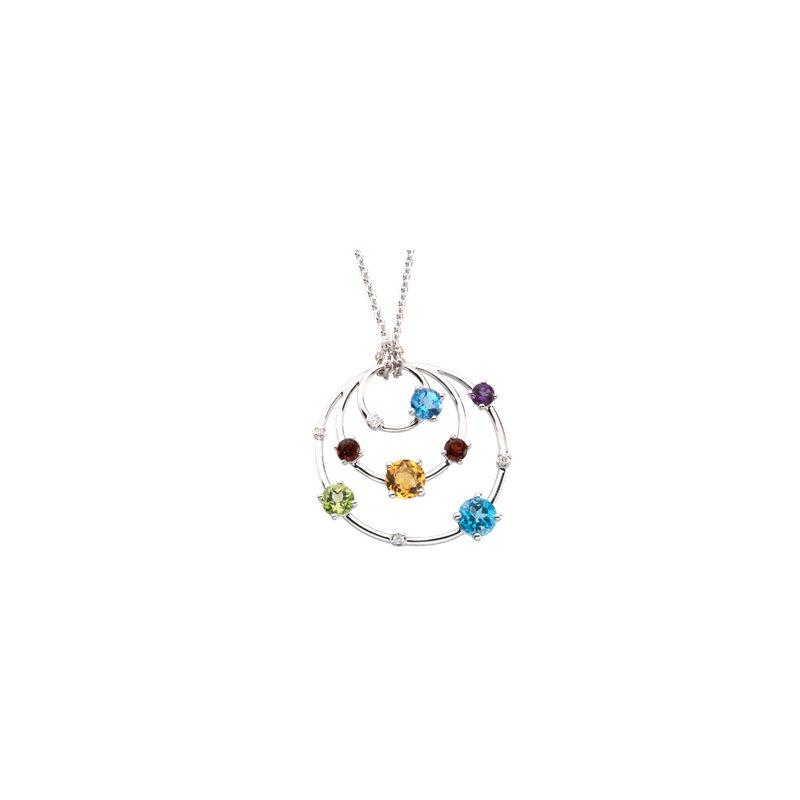 Holiday Ideas Genuine Multicolor Gemstones & Diamond Necklace