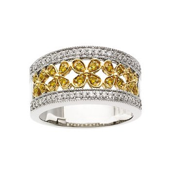 3/8 ct tw Natural Yellow & White Diamonds Flower Design Band
