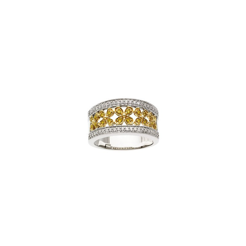 Holiday Ideas 3/8 ct tw Natural Yellow & White Diamonds Flower Design Band