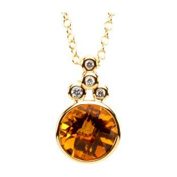 Genuine Checkerboard Golden Citrine & Diamond Necklace