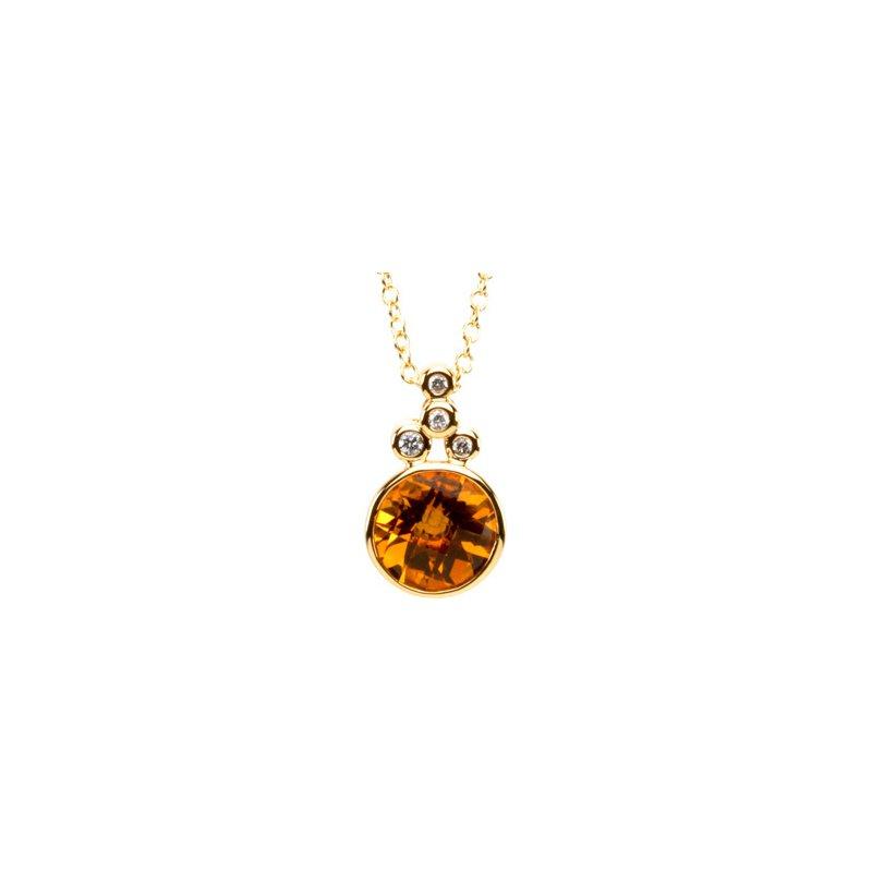 Ladies' Jewelry Genuine Checkerboard Golden Citrine & Diamond Necklace