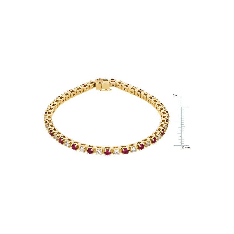 Ladies' Jewelry Genuine Ruby & Diamond Bracelet