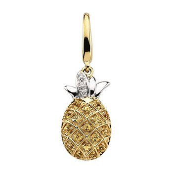 Genuine Yellow Sapphire & Diamond Pineapple Charm