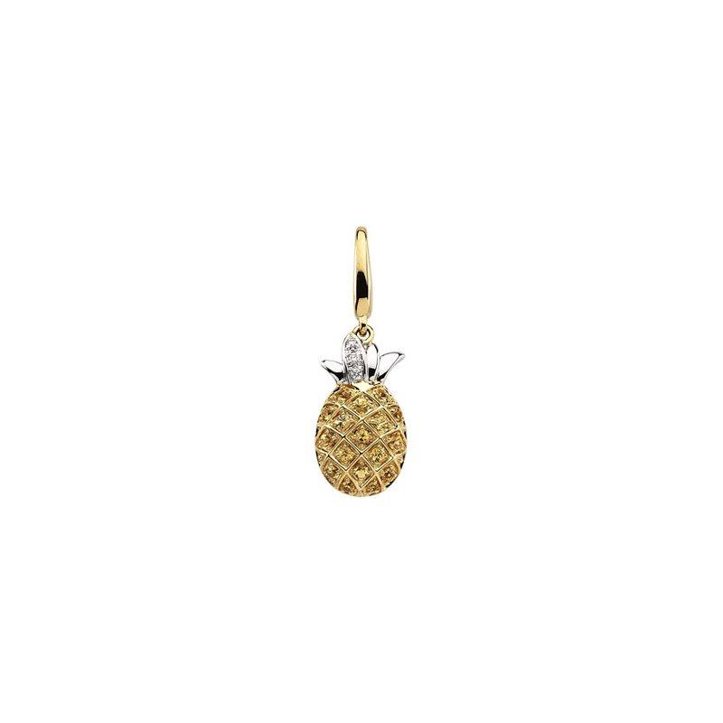 Ladies' Jewelry Genuine Yellow Sapphire & Diamond Pineapple Charm
