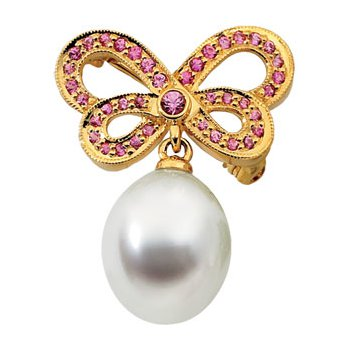 South Sea Cultured Pearl & Pink Sapphire Butterfly Brooch