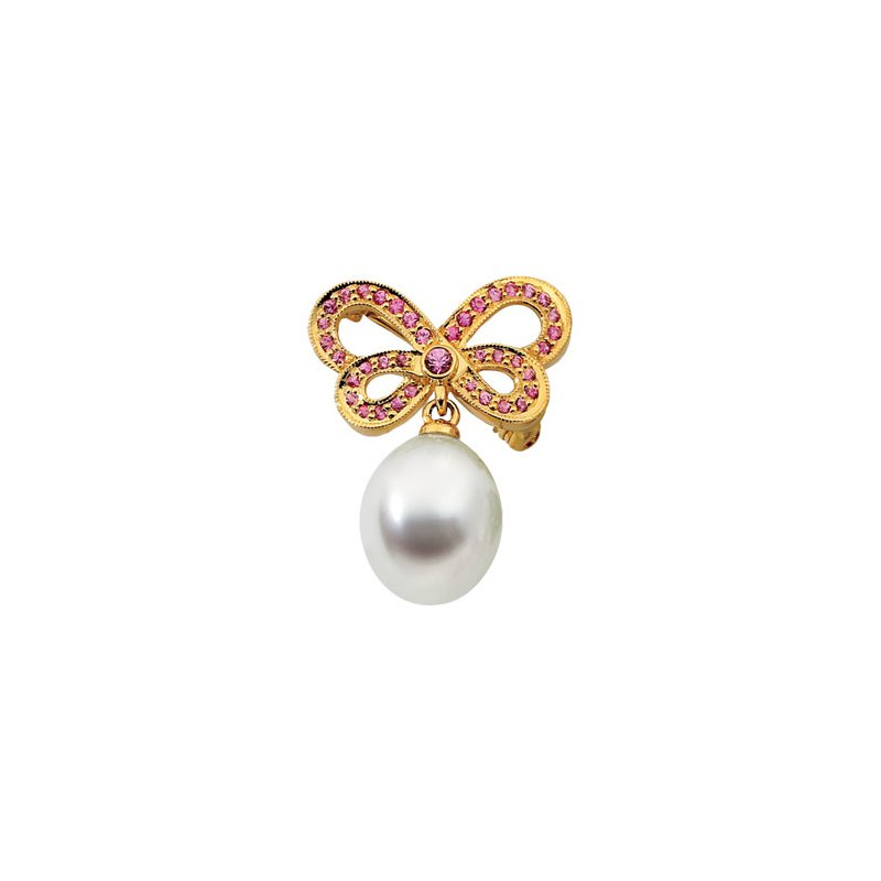 Ladies' Jewelry South Sea Cultured Pearl & Pink Sapphire Butterfly Brooch