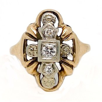 Lady's vintage two-tone and diamond ring